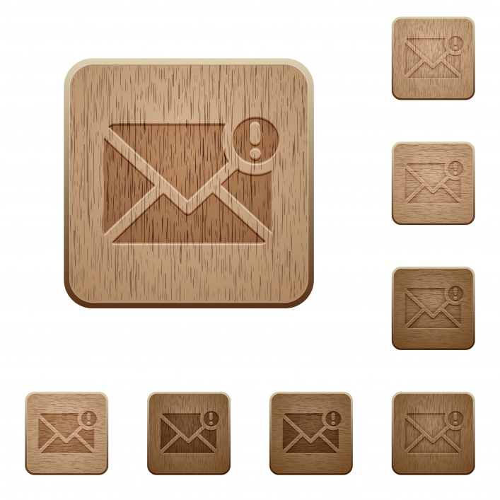 Set of carved wooden important message buttons in 8 variations. - Free image