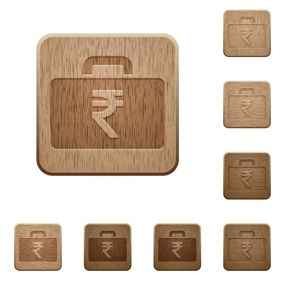 Set of carved wooden indian Rupee bag in 8 variations. - Free image