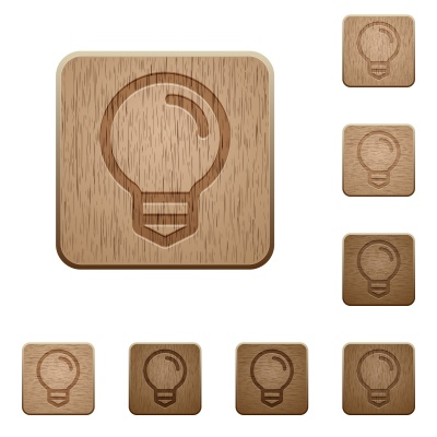 Set of carved wooden light bulb buttons. 8 variations included. Arranged layer structure. - Free image