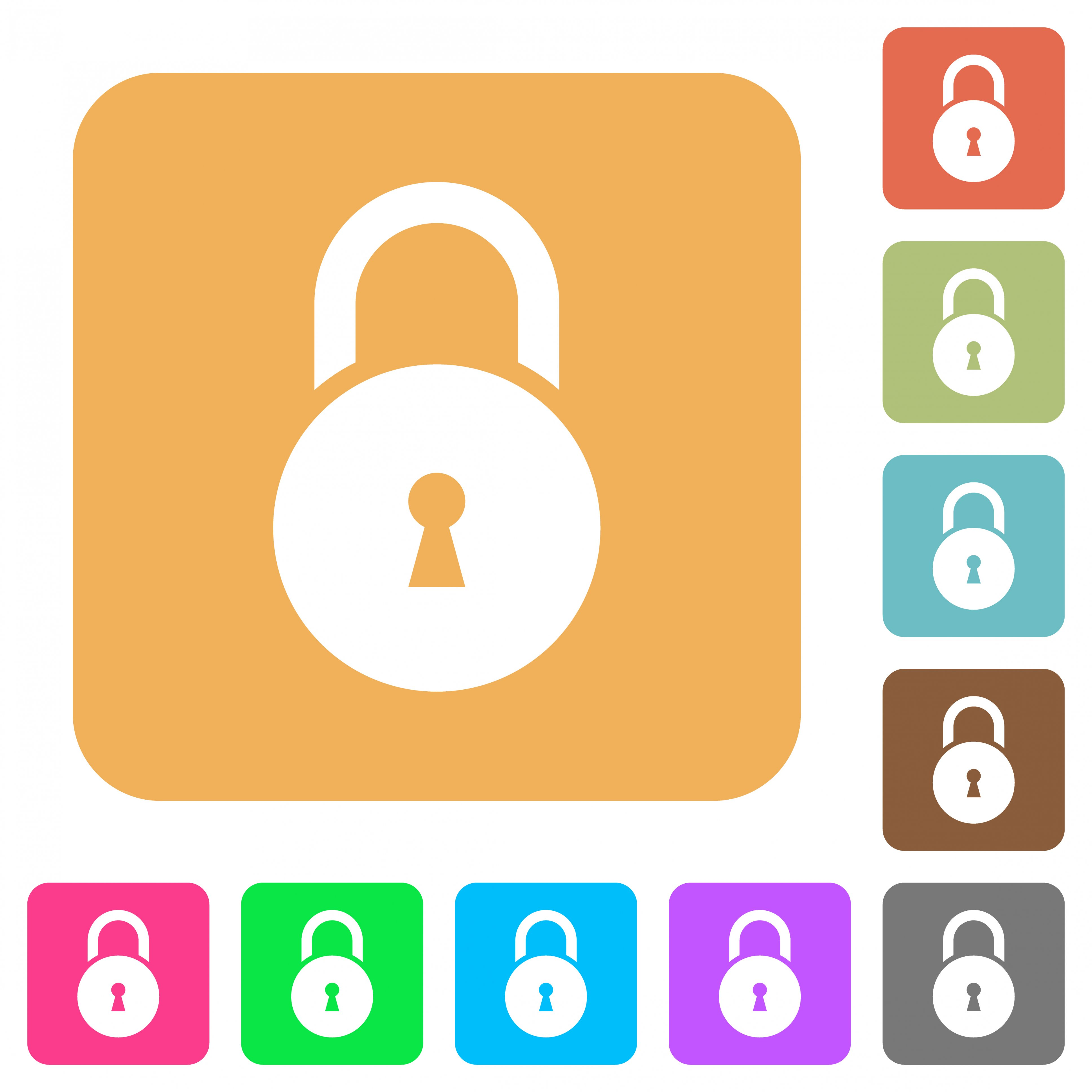 Locked round padlock with keyhole flat icons on rounded square vivid color backgrounds. - Free image