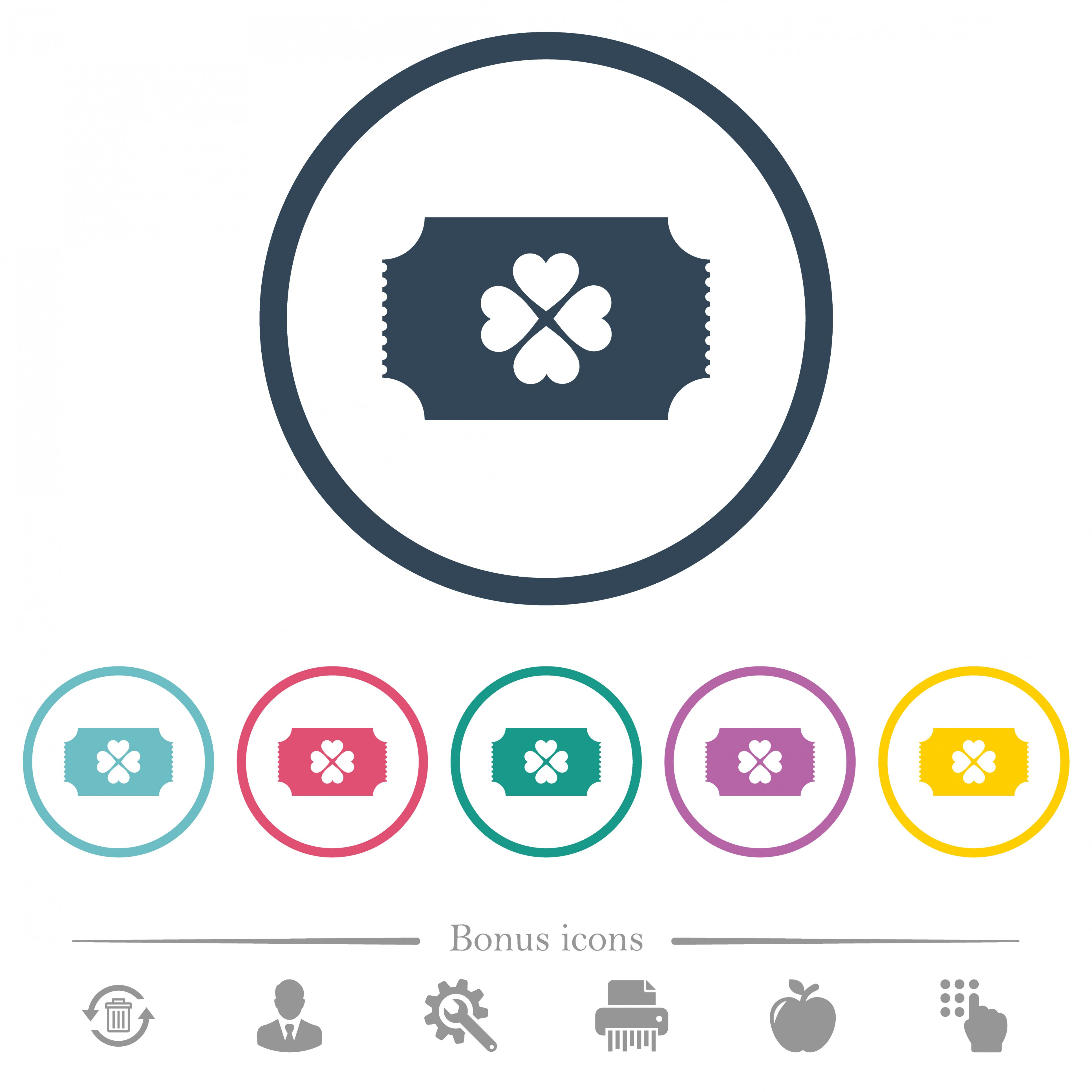 Lottery ticket flat color icons in round outlines. 6 bonus icons included. - Free image