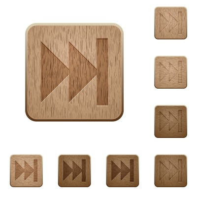 Set of carved wooden Media fast forward buttons in 8 variations. - Free image