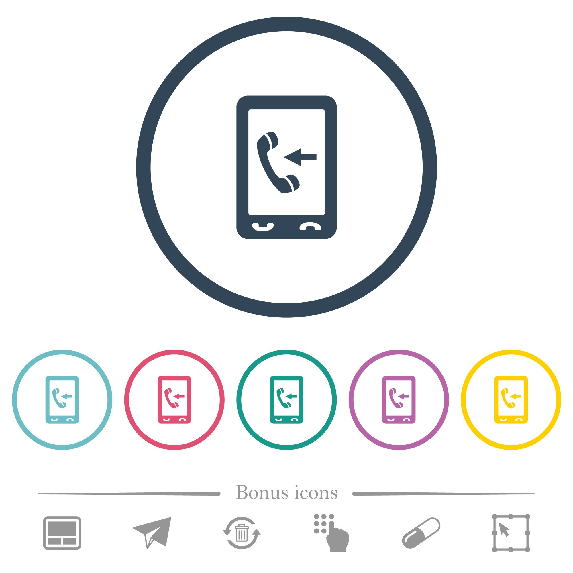 Mobile incoming call flat color icons in round outlines. 6 bonus icons included. - Free image