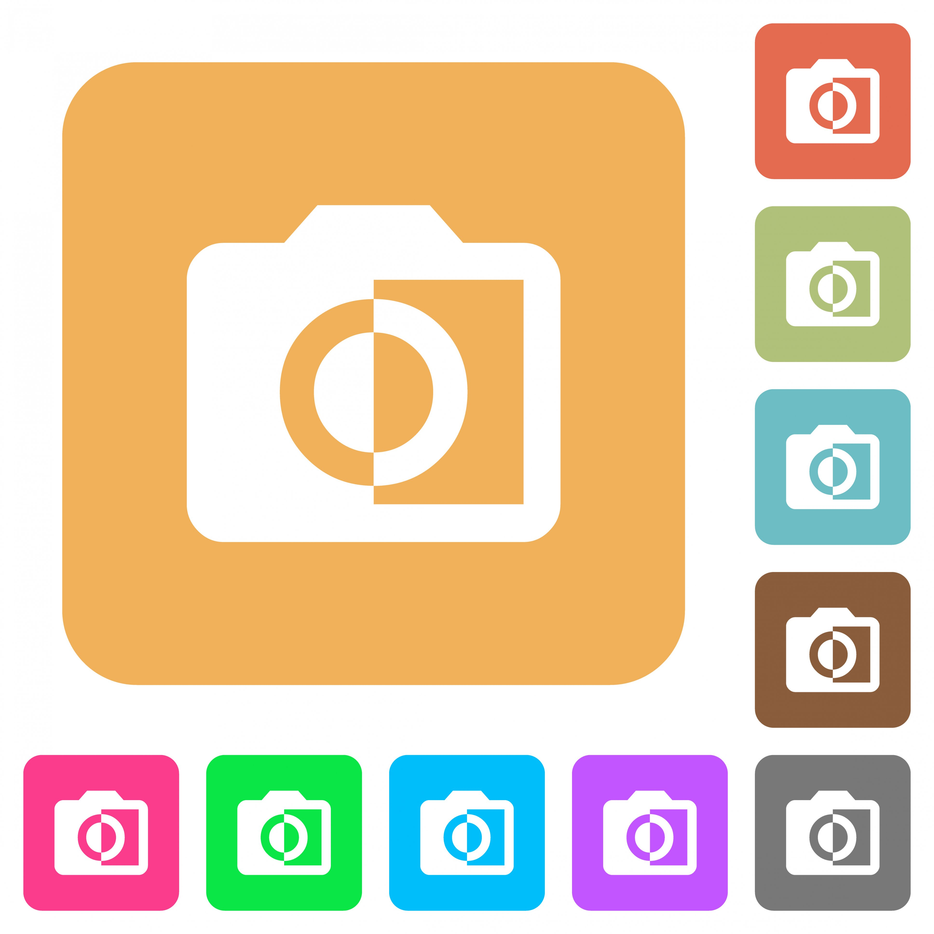 Monochrome photos flat icons on rounded square vivid color backgrounds. - Free image