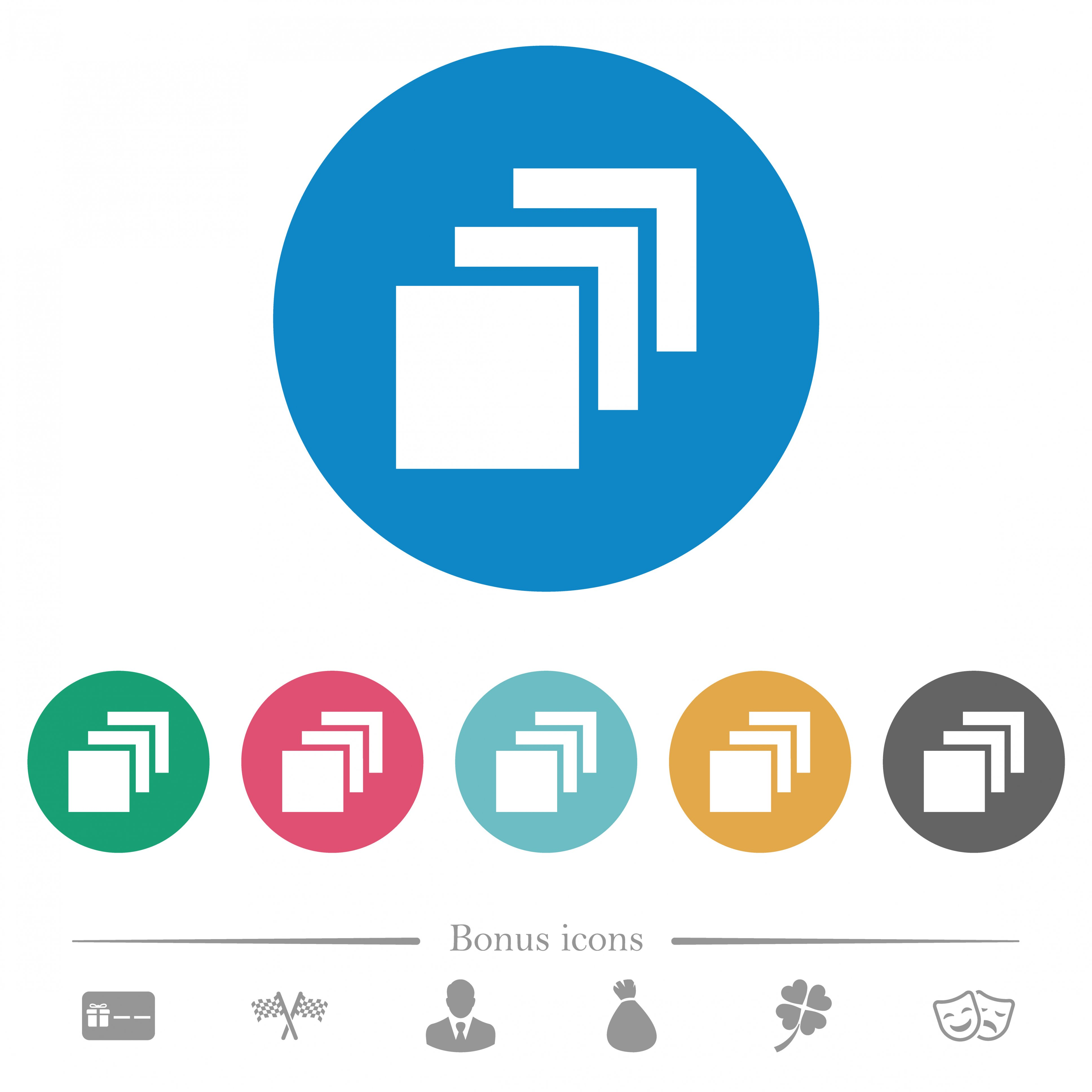 Multiple canvases flat white icons on round color backgrounds. 6 bonus icons included. - Free image