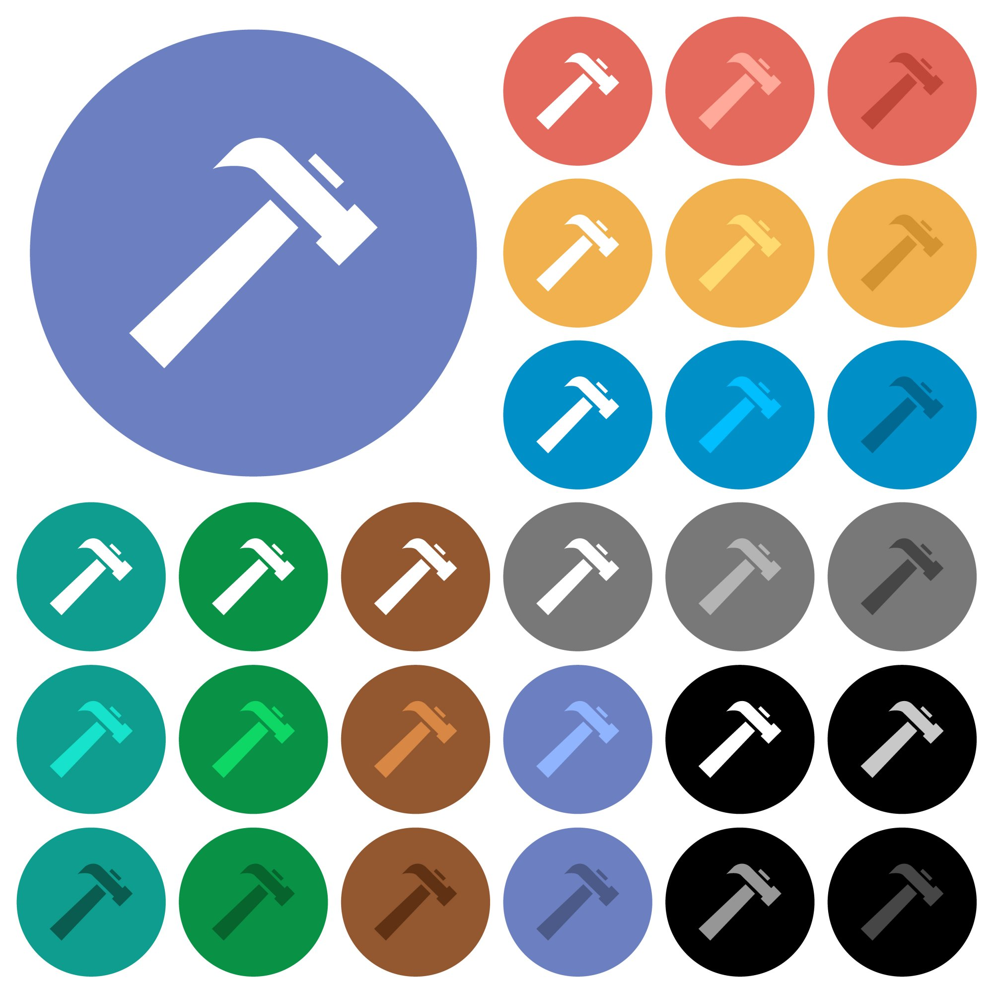 Old hammer multi colored flat icons on round backgrounds. Included white, light and dark icon variations for hover and active status effects, and bonus shades. - Free image