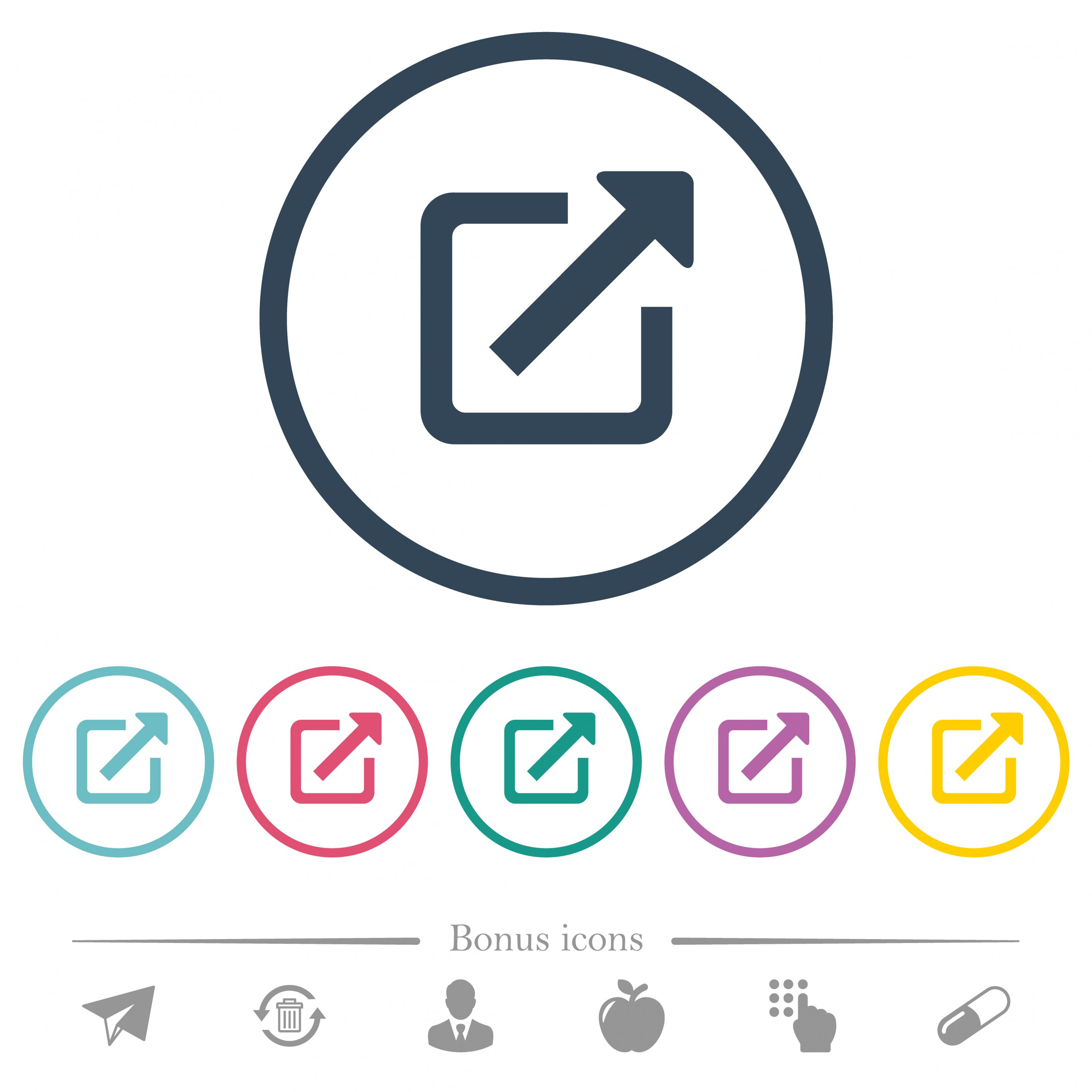 Open in new window flat color icons in round outlines. 6 bonus icons included. - Free image
