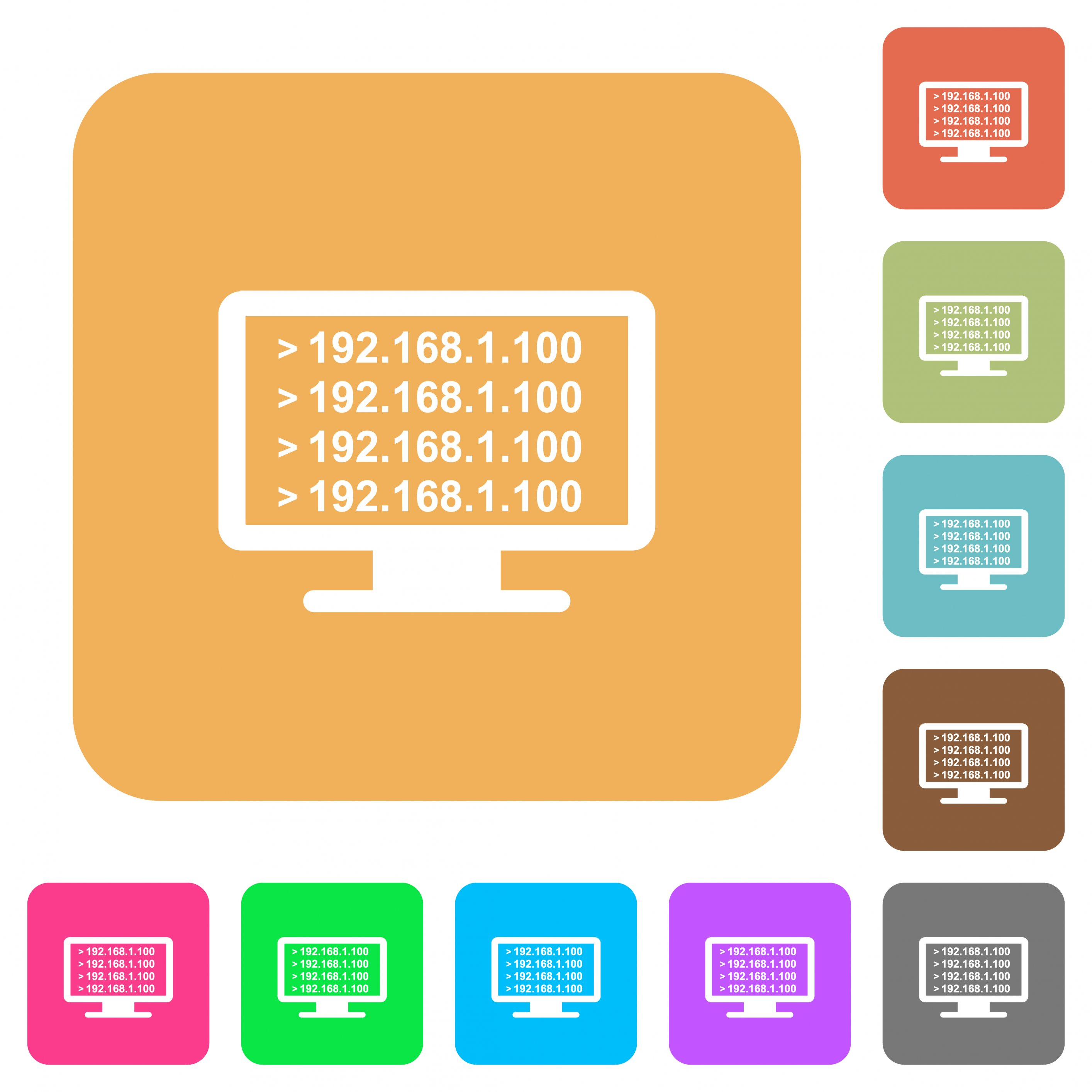 Ping remote computer flat icons on rounded square vivid color backgrounds. - Free image