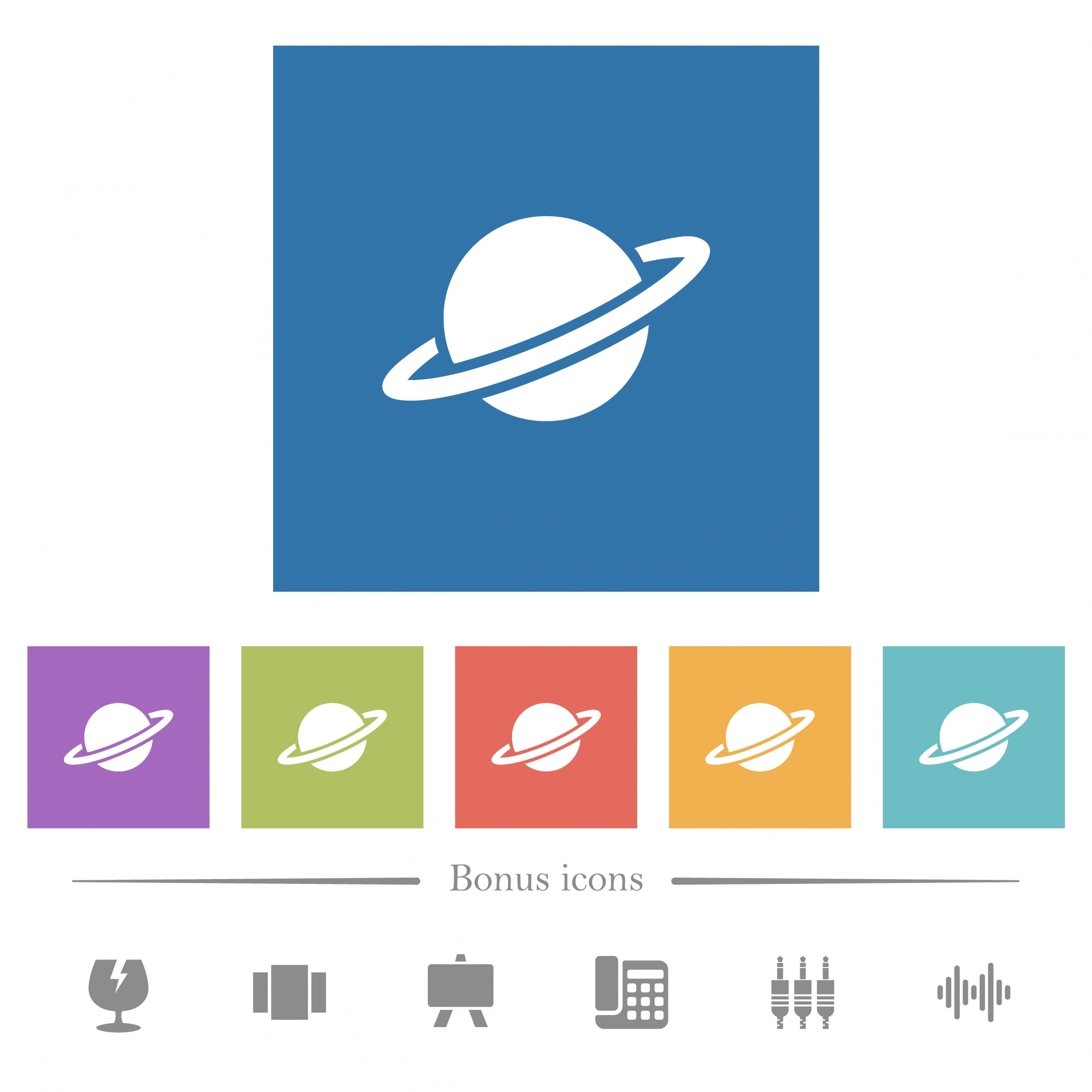 Planet flat white icons in square backgrounds. 6 bonus icons included. - Free image