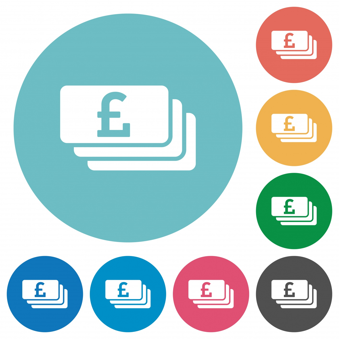 Pound banknotes white flat icons on color rounded square backgrounds - Free image