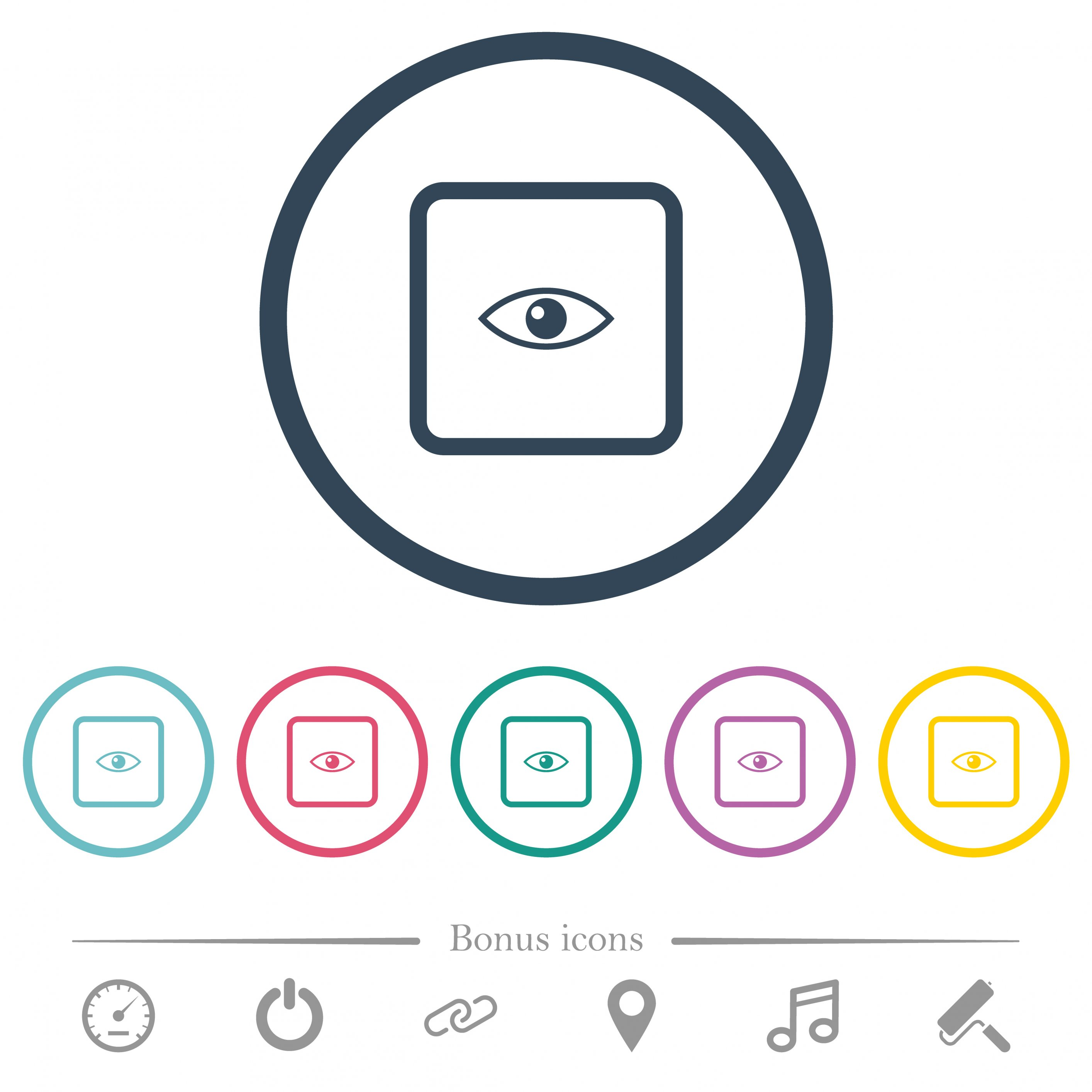 Preview object flat color icons in round outlines. 6 bonus icons included. - Free image