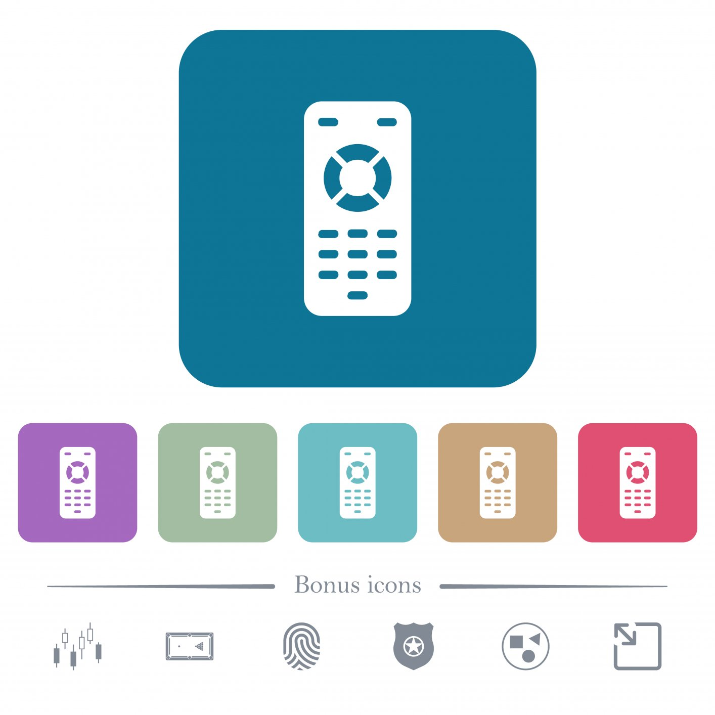 Remote control white flat icons on color rounded square backgrounds. 6 bonus icons included - Free image
