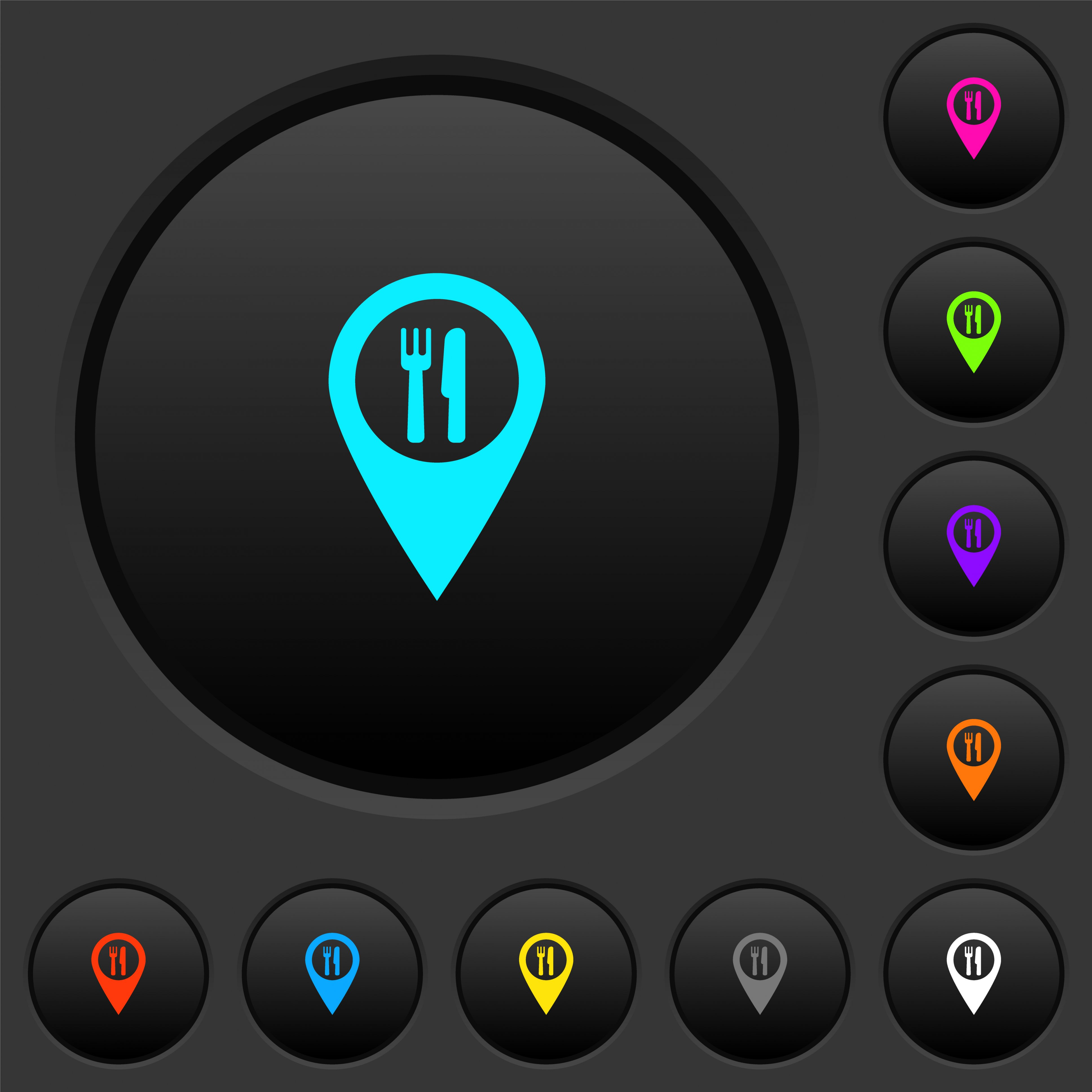 Restaurant GPS map location dark push buttons with vivid color icons on dark grey background - Free image