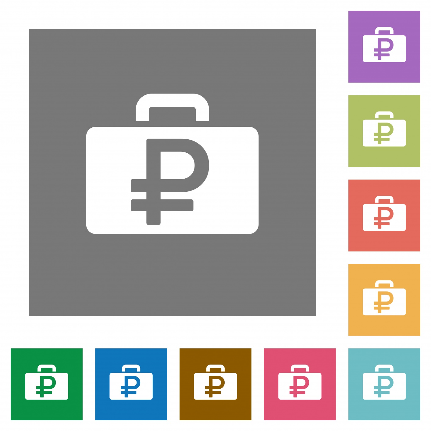Ruble bag flat icons on simple color square backgrounds - Free image