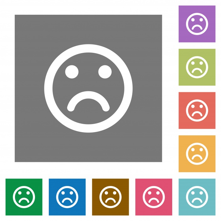 Sad emoticon flat icons on simple color square backgrounds - Free image