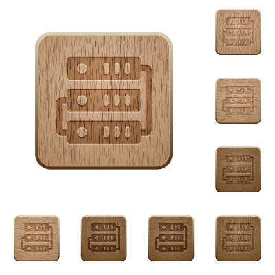 Set of carved wooden servers buttons in 8 variations. - Free image