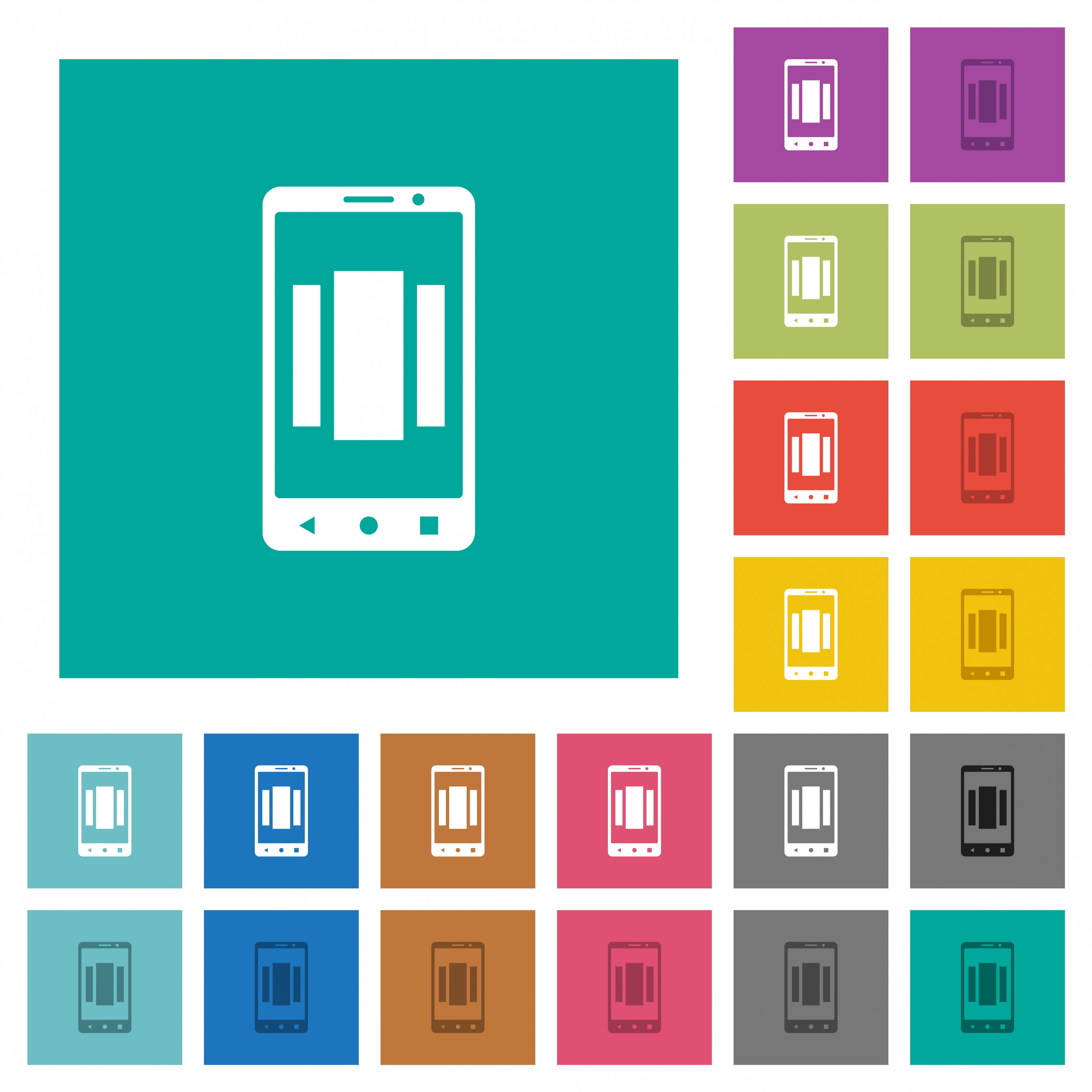 Setting up mobile homescreen multi colored flat icons on plain square backgrounds. Included white and darker icon variations for hover or active effects. - Free image