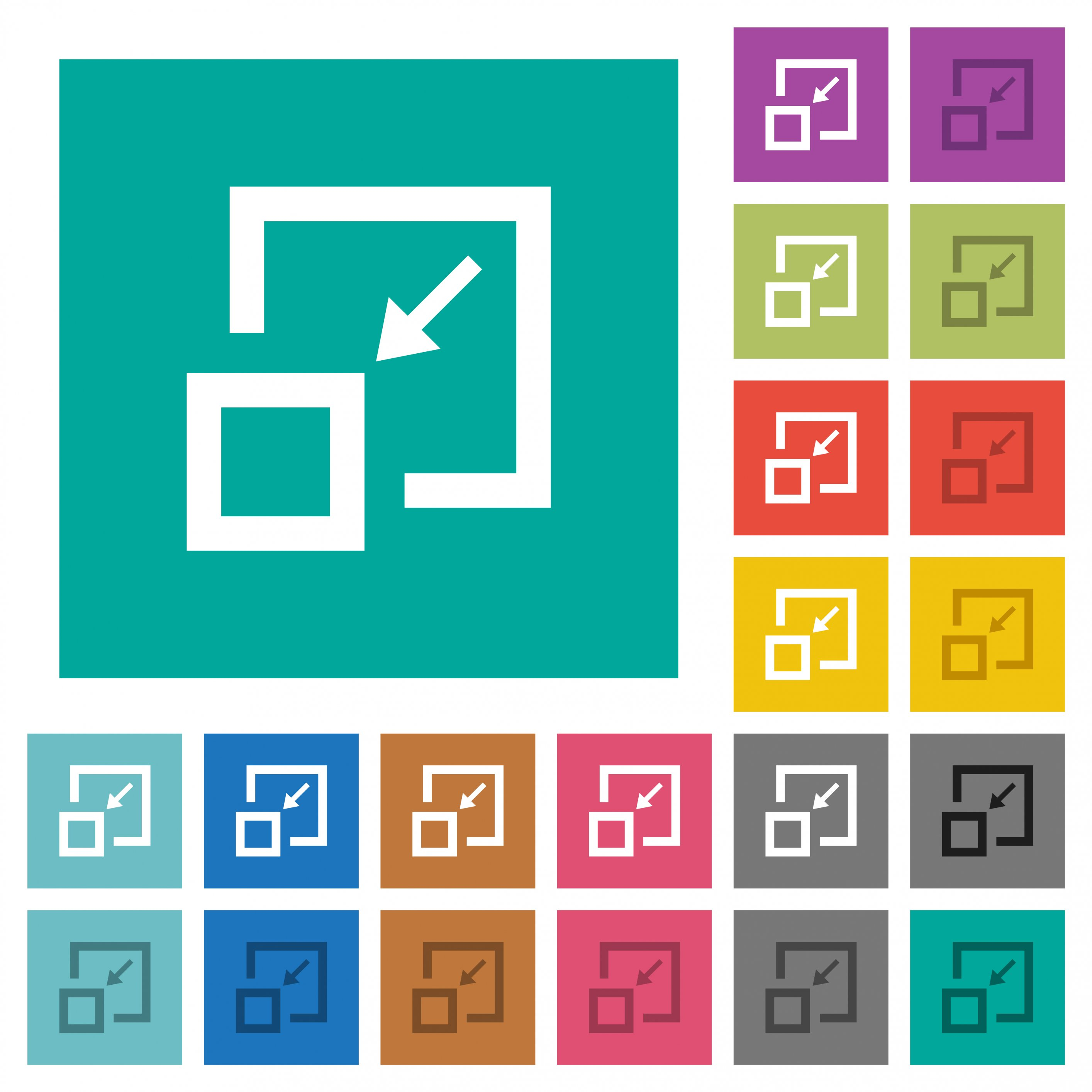 Shrink window multi colored flat icons on plain square backgrounds. Included white and darker icon variations for hover or active effects. - Free image
