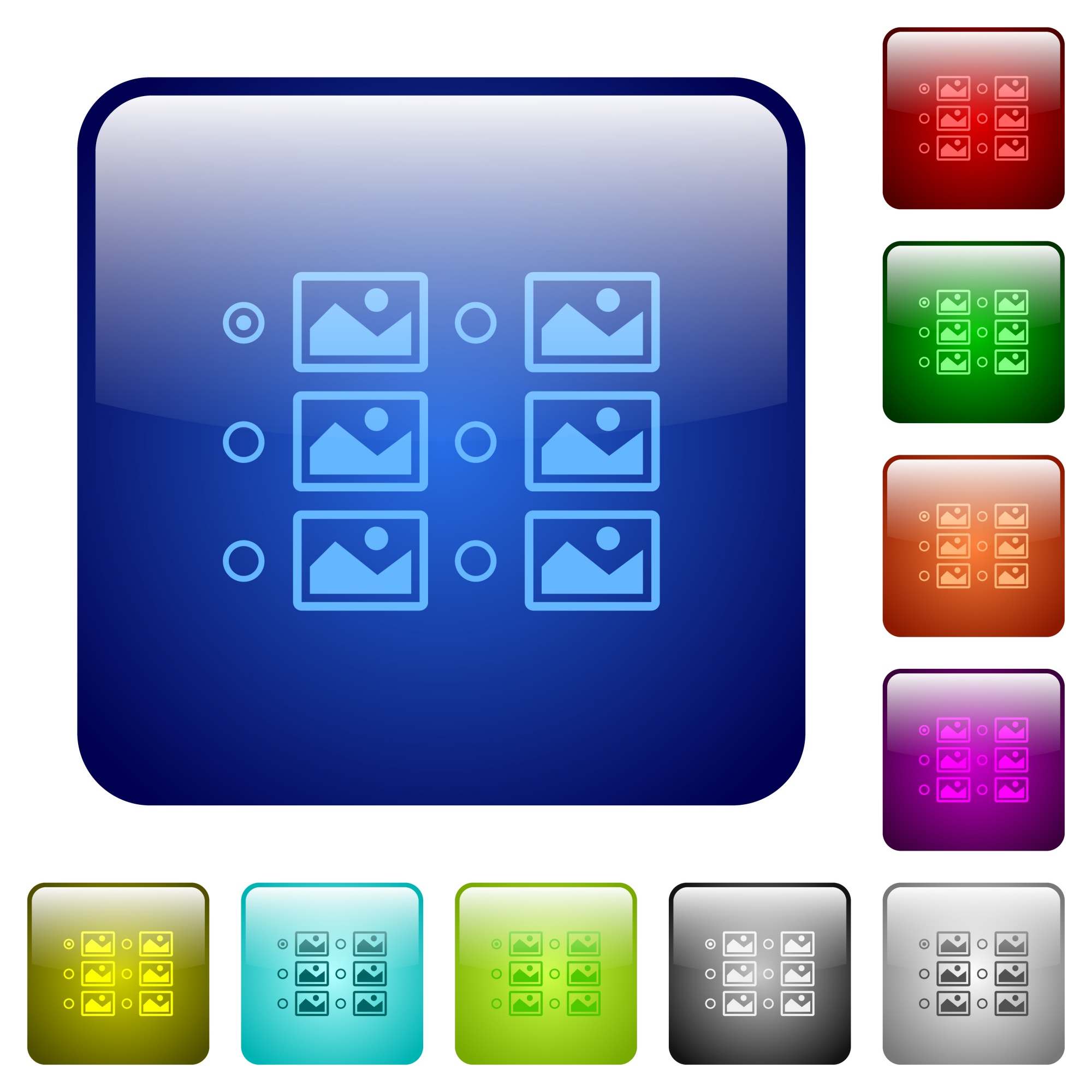 Single image selection with radio buttons icons in rounded square color glossy button set - Free image