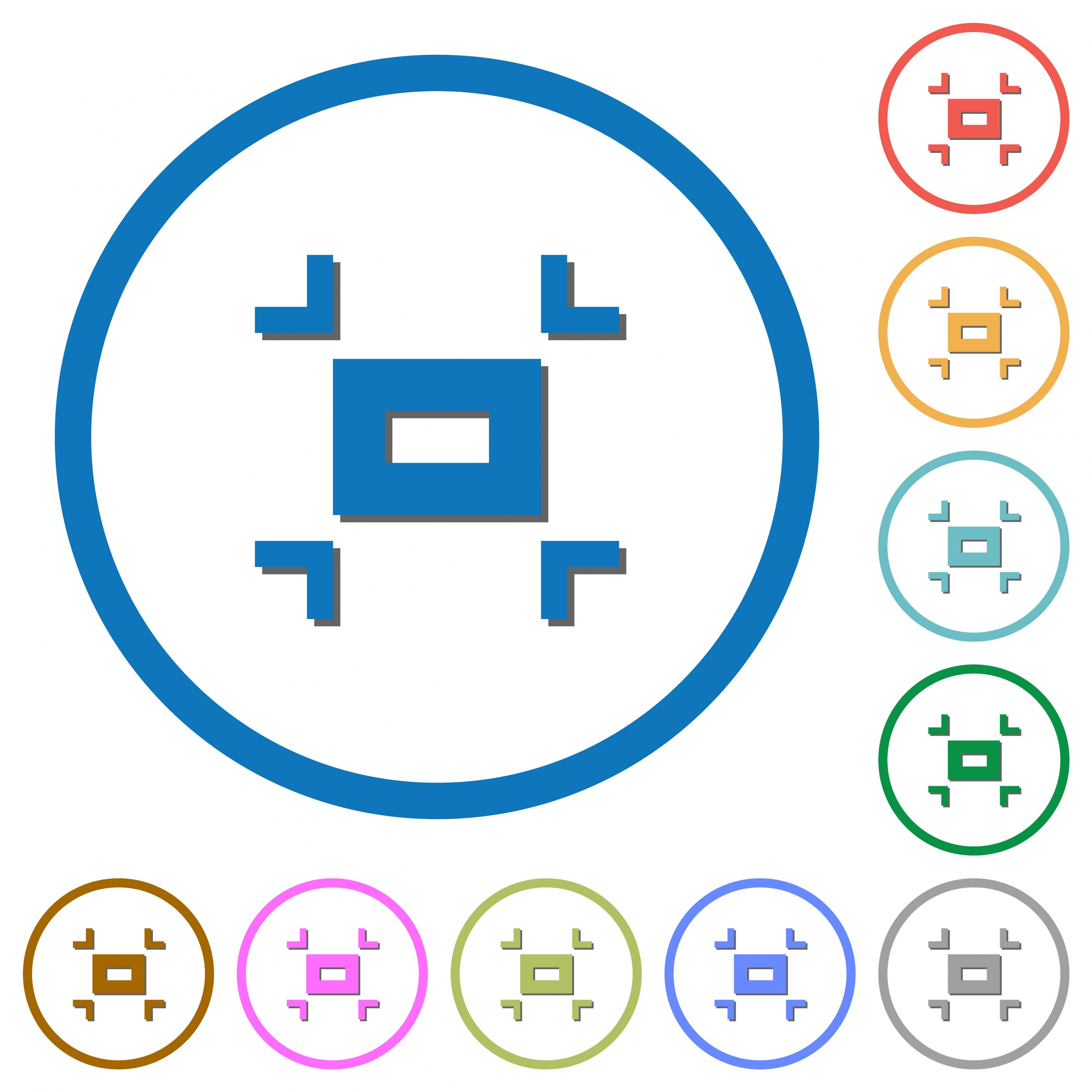 Small screen flat color vector icons with shadows in round outlines on white background - Free image