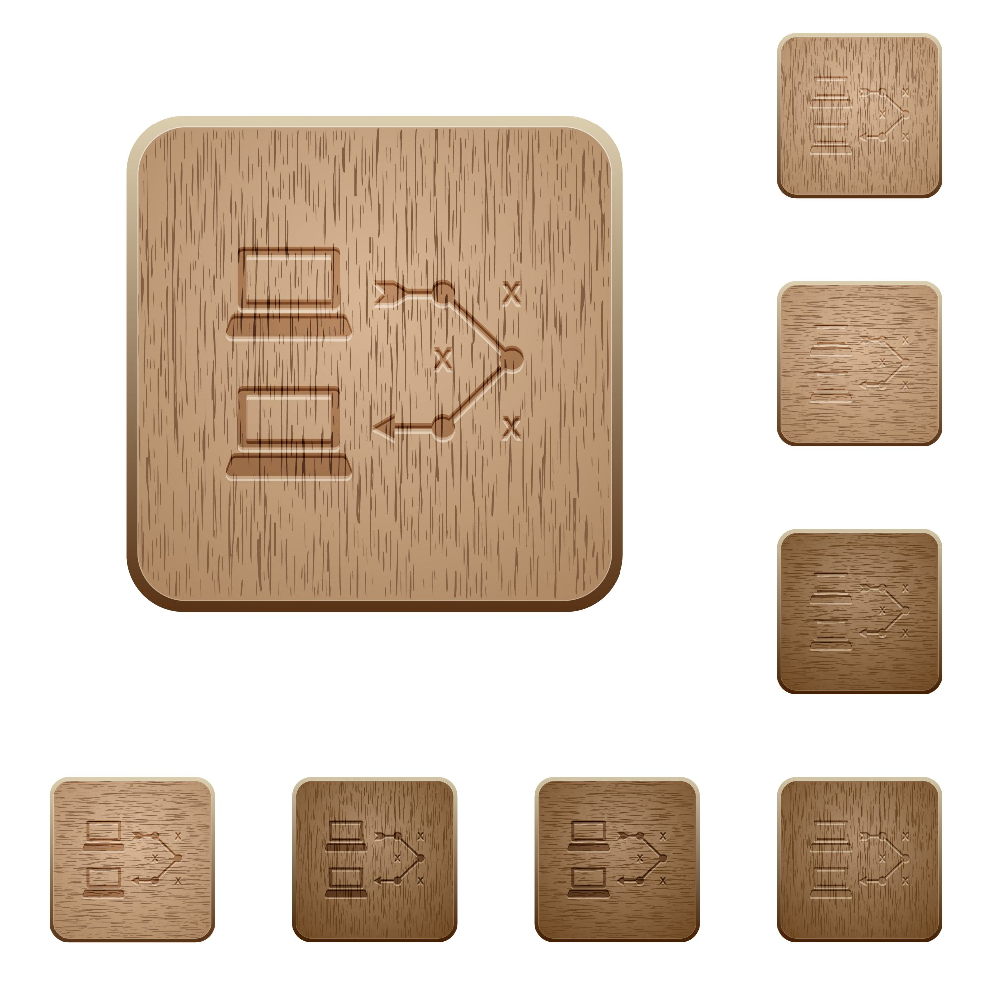 Traceroute remote computer on rounded square carved wooden button styles - Free image
