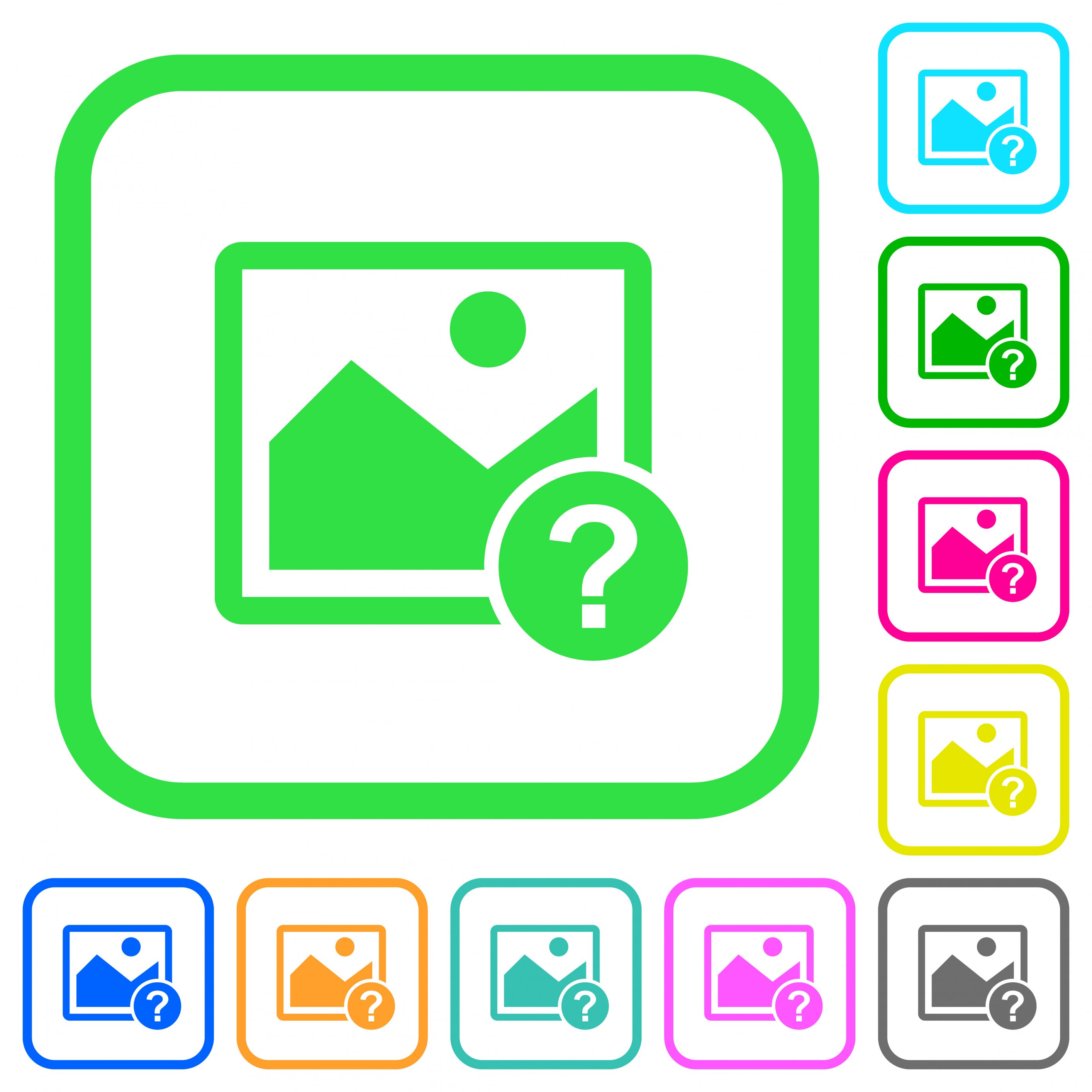Unknown image vivid colored flat icons in curved borders on white background - Free image