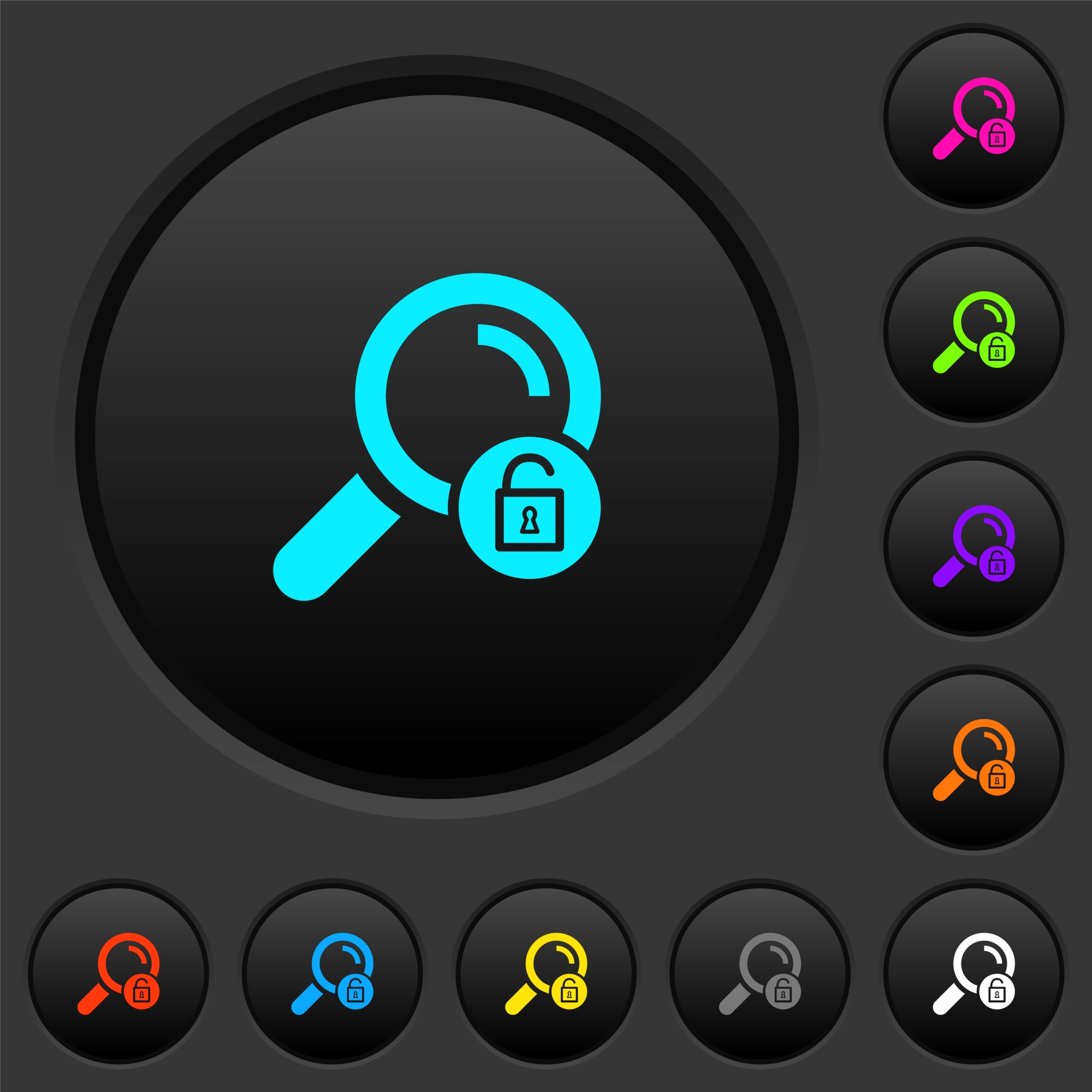 Unlock search dark push buttons with vivid color icons on dark grey background - Free image