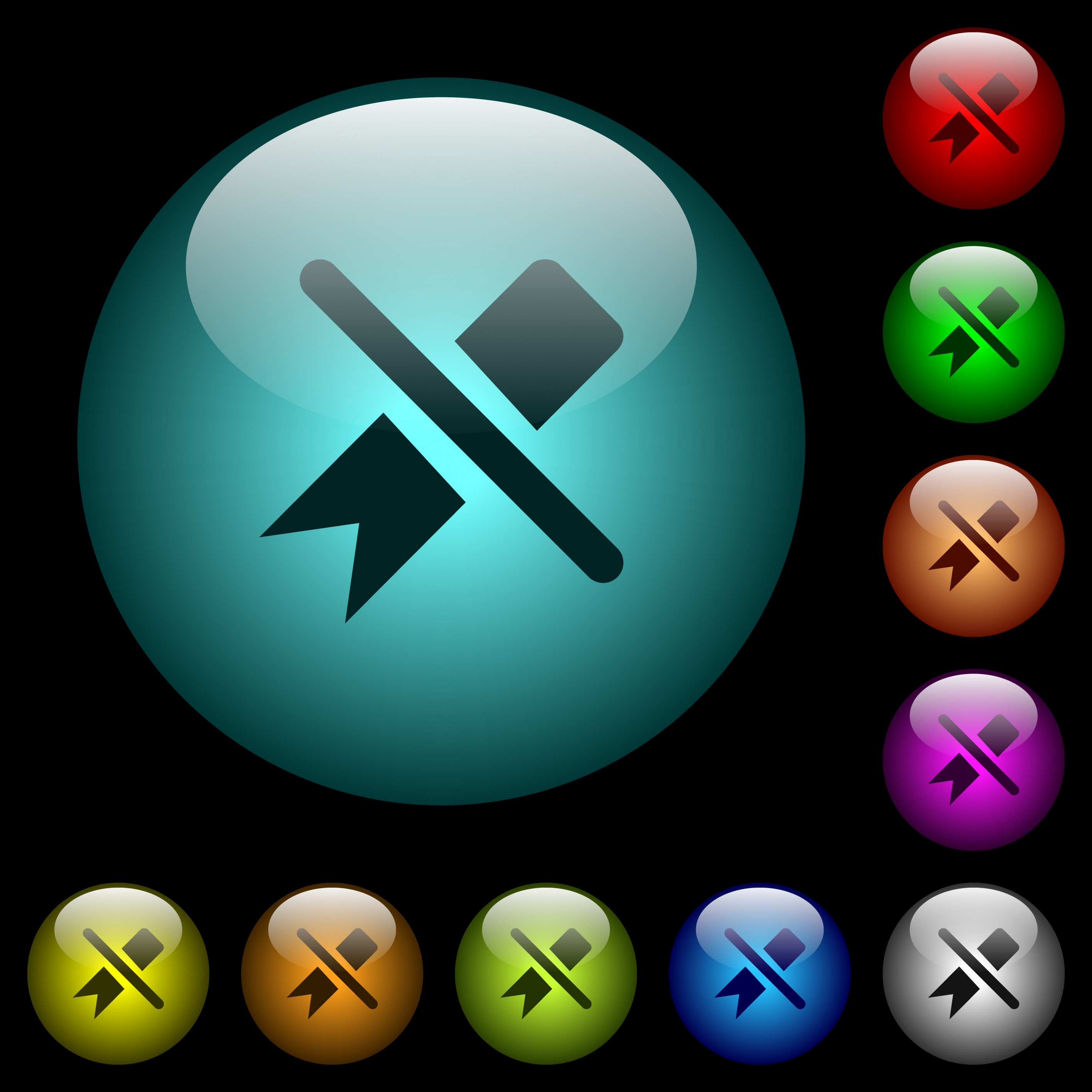 Untag icons in color illuminated spherical glass buttons on black background. Can be used to black or dark templates - Free image