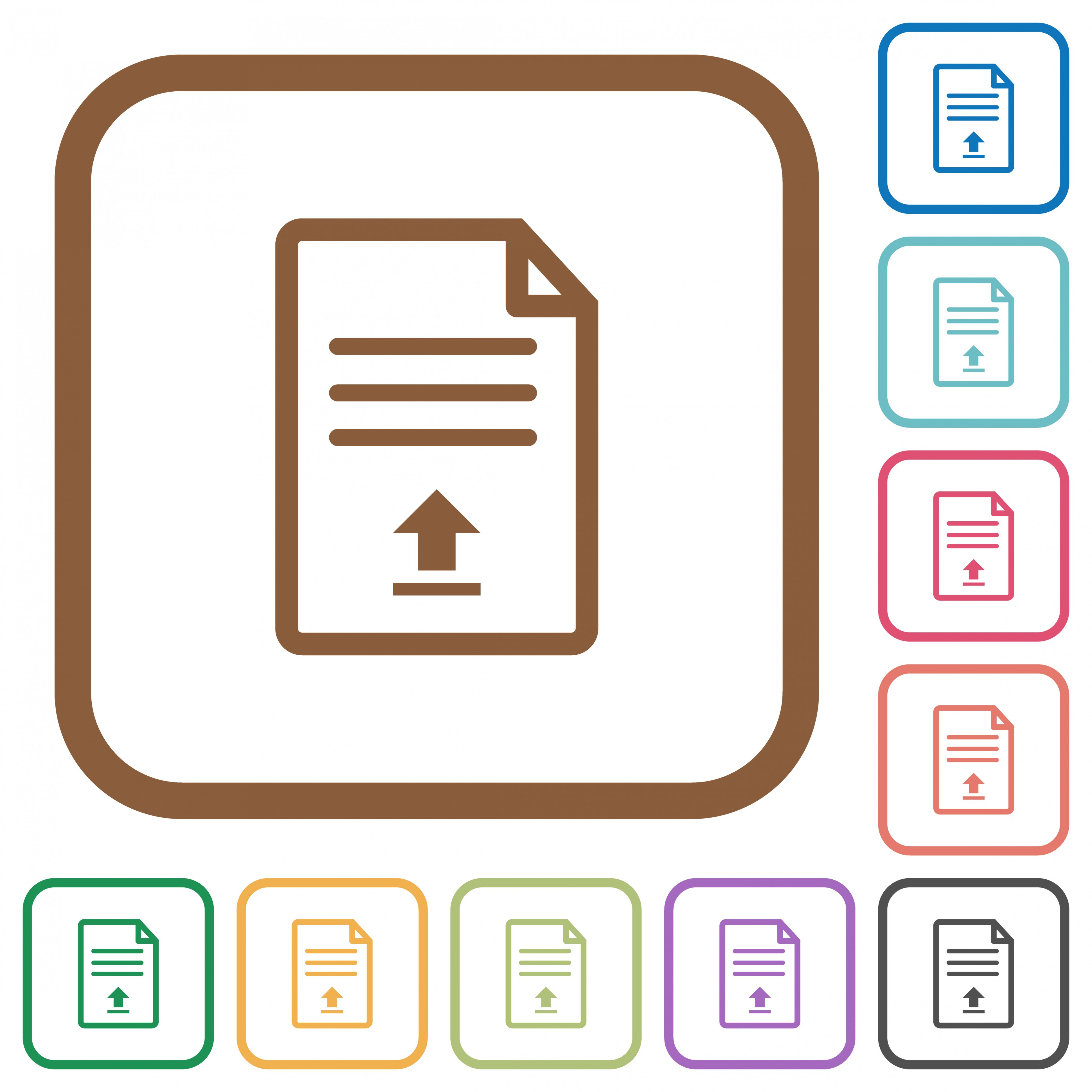 Upload document simple icons in color rounded square frames on white background - Free image