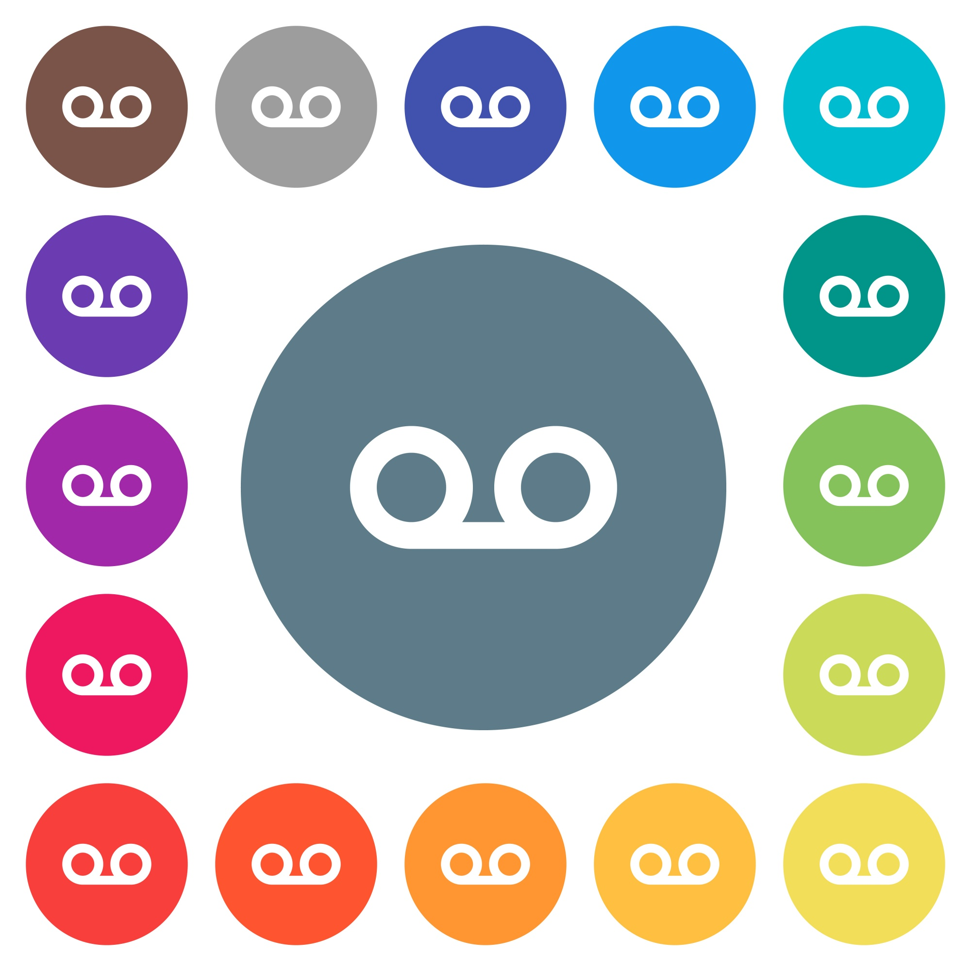 Voicemail flat white icons on round color backgrounds. 17 background color variations are included. - Free image