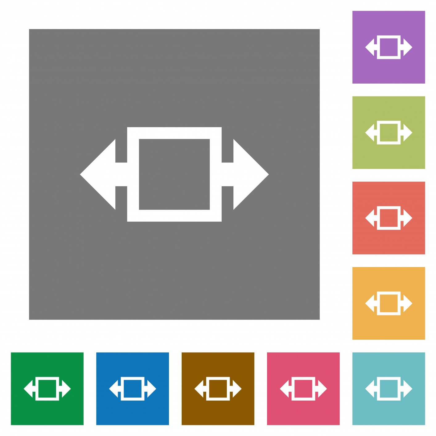 Width tool flat icons on simple color square backgrounds - Free image
