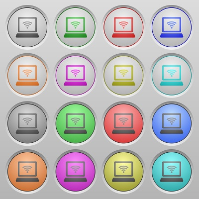 Set of wireless computer network plastic sunk spherical buttons. - Free image