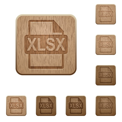 Set of carved wooden XLSX file format buttons in 8 variations. - Free image