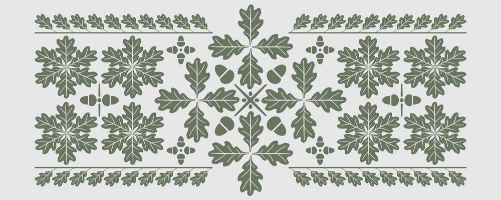 Oak leaf pattern design for many kinds of decorative purposes. The elements can be assembled to a variety of embellishments.