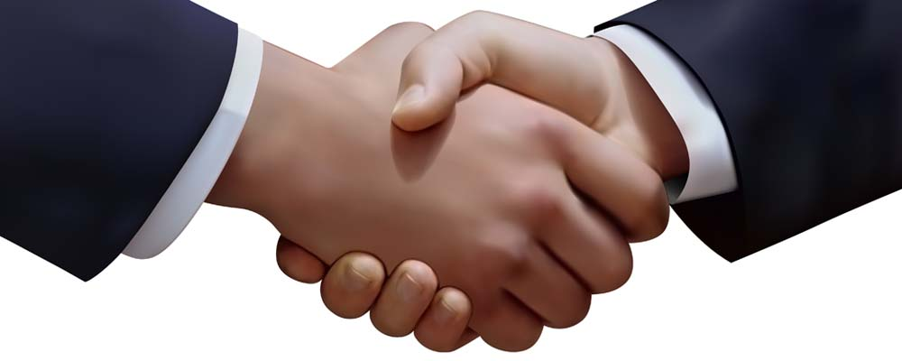 Vector graphic of the handshake of two businessmen