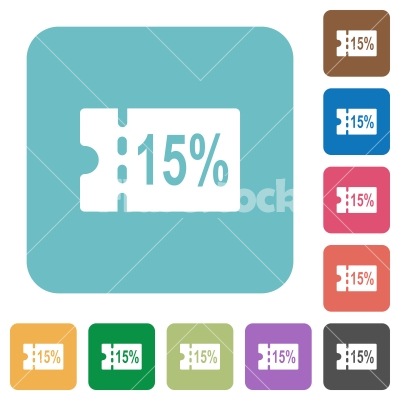 15 percent discount coupon rounded square flat icons - 15 percent discount coupon white flat icons on color rounded square backgrounds