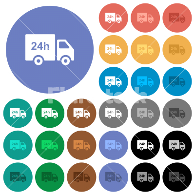 24 hour delivery truck round flat multi colored icons - 24 hour delivery truck multi colored flat icons on round backgrounds. Included white, light and dark icon variations for hover and active status effects, and bonus shades.