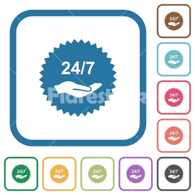 24 hours seven service sticker simple icons - 24 hours seven service sticker simple icons in color rounded square frames on white background