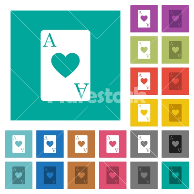 Ace of hearts card square flat multi colored icons - Ace of hearts card multi colored flat icons on plain square backgrounds. Included white and darker icon variations for hover or active effects.