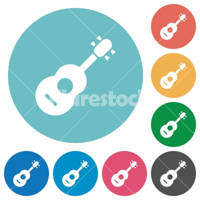 Acoustic Guitar Flat Round Icons Stock Vector Flarestock