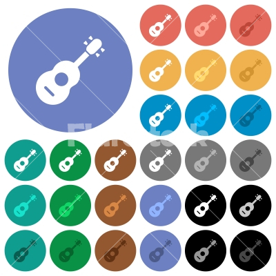 Acoustic guitar round flat multi colored icons - Acoustic guitar multi colored flat icons on round backgrounds. Included white, light and dark icon variations for hover and active status effects, and bonus shades on black backgounds.