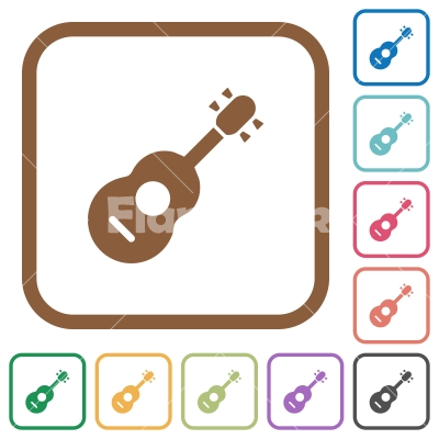 Acoustic Guitar Simple Icons Stock Vector Flarestock