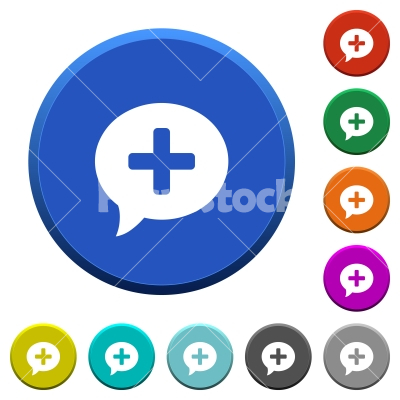 Add comment beveled buttons - Add comment round color beveled buttons with smooth surfaces and flat white icons - Free stock vector