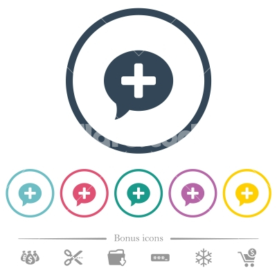 Add comment flat color icons in round outlines - Add comment flat color icons in round outlines. 6 bonus icons included.