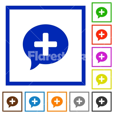 Add comment flat framed icons - Add comment flat color icons in square frames on white background