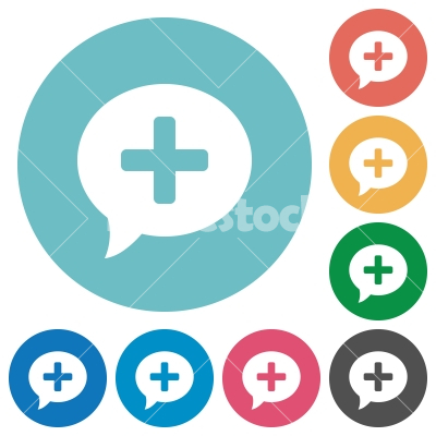 Add comment flat round icons - Add comment flat white icons on round color backgrounds