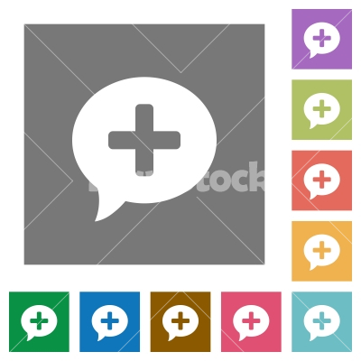 Add comment square flat icons - Add comment flat icons on simple color square backgrounds