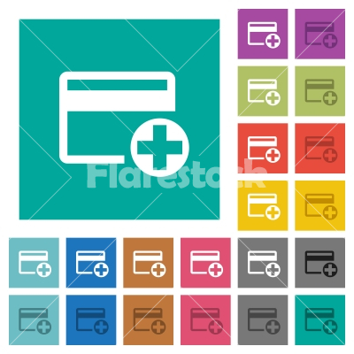 Add new credit card square flat multi colored icons - Add new credit card multi colored flat icons on plain square backgrounds. Included white and darker icon variations for hover or active effects.