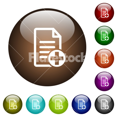 Add new document color glass buttons - Add new document white icons on round color glass buttons