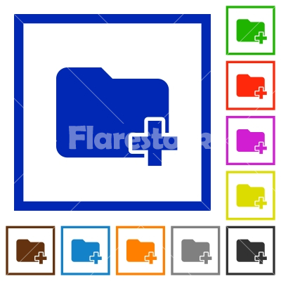 Add new folder framed flat icons - Set of color square framed Add new folder flat icons